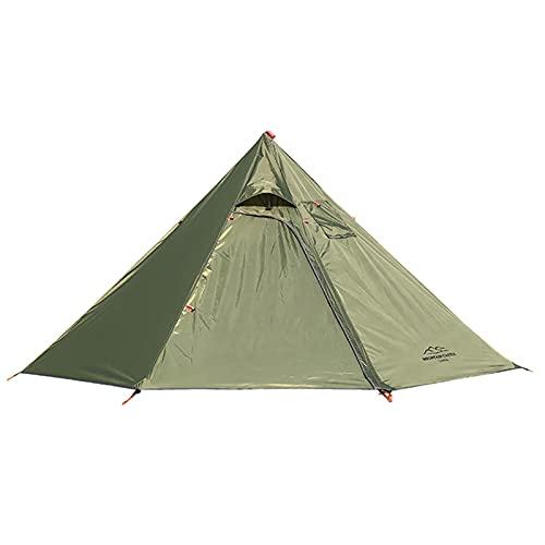 DIBAO Tienda de campaña portátil 3-4 Persona Ultraligero al Aire Libre Camping Teepee 20D PIRAMIDE Tienda Grande Tienda de Carrete sin Barras Mochileros de Senderismo (Color : Green)