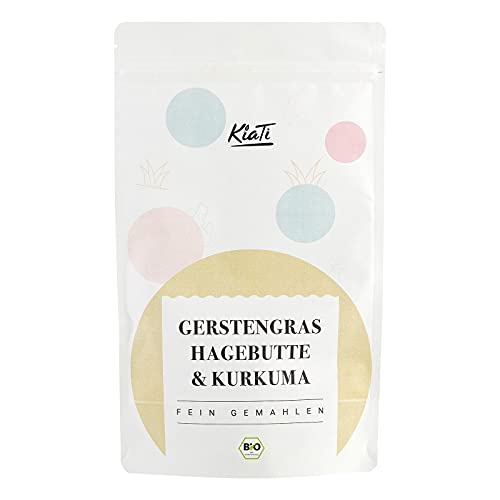 KiaTi - Mezcla de escaramujo orgánico, hierba de cebada, cúrcuma en polvo - Leche dorada - Contiene hierro para metabolismo energético y sistema inmunológico - Sin aditivos - 300 g