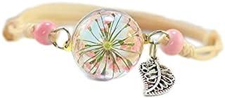 Armband Damen echte Trockenblumen mit Gießharz Blattanhänger Holzperlen