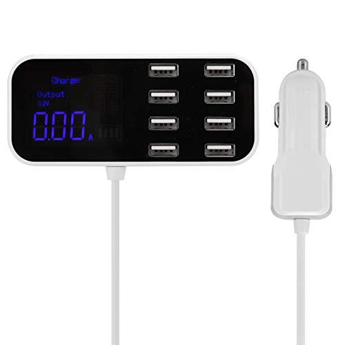 CCYLEZ Cargador de Coche A9S Power Hub, estación de Acoplamiento USB 8 en 1 con Pantalla LED, Adaptador de Corriente de Cargador portátil de 3 Modos para a Saber, 5.2V, 9.1V y 12V (Blanco)