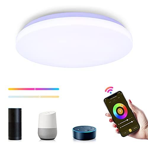 Tasmor WiFi Plafón de Techo 18W, Plafones LED Compatible con Alexa, Google Home y App, Luces Led Techo con Luz Regulable 2700-6500k RGB, Lámparas de Techo Modernas para Cocina Dormitorio Pasillo