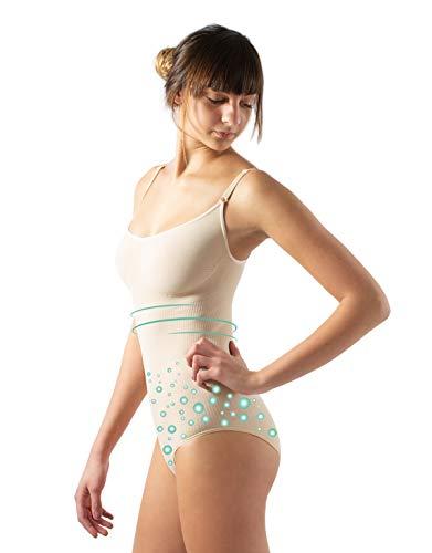 CALZITALY Anticellulite Figurformende Body mit Massage Effekt | Schwarz, Hautfarbe, Weiß | S, M, L, XL | Made in Italy (M, Hautfarbe)