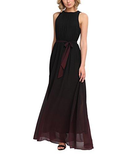 APART Fashion Damen 25151 Kleid, Mehrfarbig (Schwarz-Beere), 40