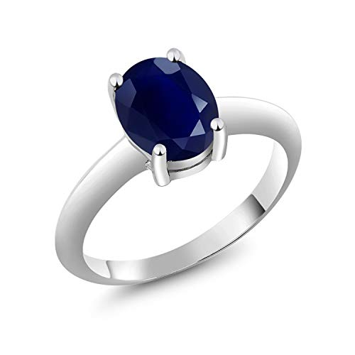 Gem Stone King 925 Sterling Silver Blue Sapphire Women's Solitaire Ring 2.50 Ct 9x7mm Oval Gemstone Birthstone (Size 9) (0.25 Ct Gems)