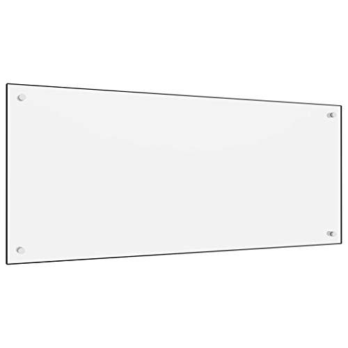 vidaXL Küchenrückwand Spritzschutz Fliesenspiegel Glasplatte Rückwand Herdspritzschutz Wandschutz Herd Küche Weiß 120x50cm Hartglas