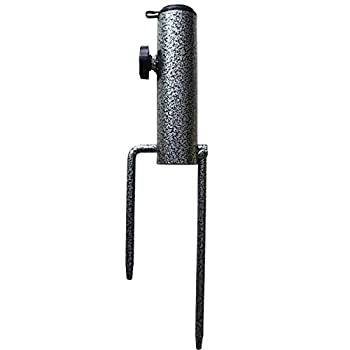 AMMSUN Patio Umbrella Steel Anchor Beach Umbrella Heavy Duty Metal Ground Grass Auger Holder Stands with Two Forks Ideal for Use in Soil Black