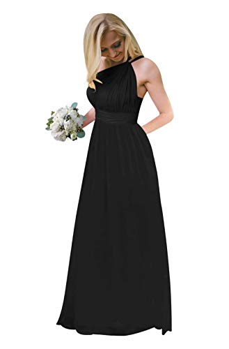 Andybridal Women's One Shoulder Pleated Open Back Chiffon Long Wedding Guests Bridesmaid Dress with Belt Black 2