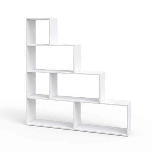 Vicco Treppenregal ASYM Raumteiler Bücherregal Standregal Aktenregal Hochregal Aufbewahrung Regal (Weiß)