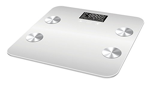Bluetooth Smart Body Fat Scale with iOS/Android App  Digital Body Bathroom Scale for Body Weight Body Fat Water Muscle Mass BMR Bone Mass and Visceral Fat 400 lbs Creamy White
