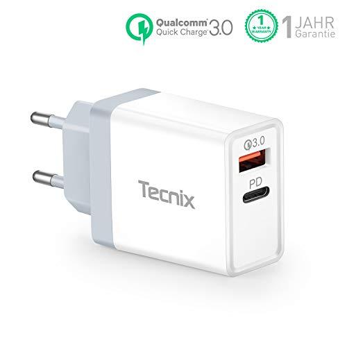 Tecnix USB C Ladegerät 36W Dual Port mit 18W Power Delivery 3.0 USB C Netzteil,Schnellladegerät für iPhone 11 11Pro X XR XS 8,iPad Pro 2020,AirPods Pro,Pixel 4,Nintendo Switch,Powerbank usw