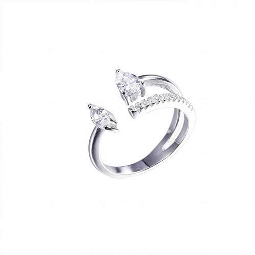 LLL Moda Femenina 925 en Forma de Gota de Diamante S925 Anillo de Plata Esterlina Gota de Agua de Diamante Exquisita Apertura Solo Anillo Amor como Anillo de Bodas de Gama Alta Femenino, Plata