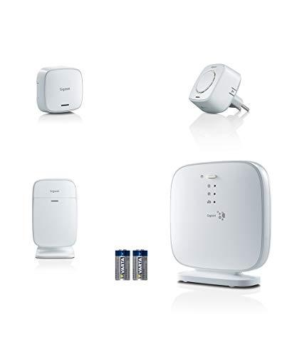 Gigaset Sicherheitssystem - Smart-Home Alarmanlage-Set mit Elements Türsensor, Sirene, DECT Bewegungsmelder, Basis-Station und Ersatzbatterien, weiß
