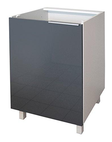 Berlenus CP6BG - Mueble bajo de Cocina con 1 Puerta (60 cm), Color Gris Brillante