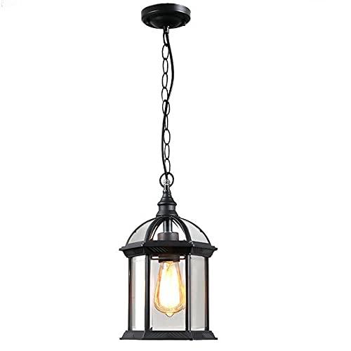 Lampadario vintage lampadario impermeabile per esterni lampadario E27 altamente regolabile in alluminio / vetro lanterna da giardino per esterni per terrazza gazebo balcone-nero