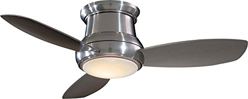 Minka Aire F518L-BN Concept II LED Brushed Nickel 44' Flush Mount Modern Ceiling Fan with Remote