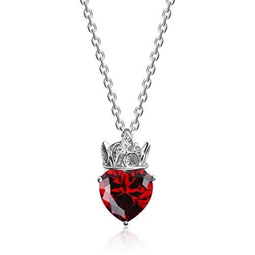 qwertyuio Collares para Mujer Collares con Colgante De Corona De Cuarzo Rosa De Lujo Elegante Plata De Ley 925 Real Regalo Fino De Cumpleaños para Mujer Rojo