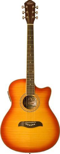 Oscar Schmidt OACEFCS-A-U Auditorium Style Acoustic-Electric Guitar - Flame Natural,Cherry Sunburst