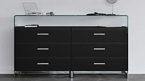 Modern Janus Black Leatherette Dresser with Bent Glass and 6 Drawers