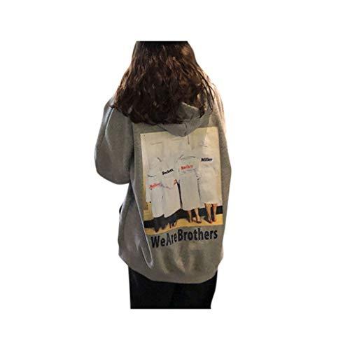 JiaMeng We Are Brothers Druck Tops Mode Bequem Mädchen Loose Lange Ärmel Oberteile verdicktem Sweatshirts Damen Einfarbig Kapuzenpullover
