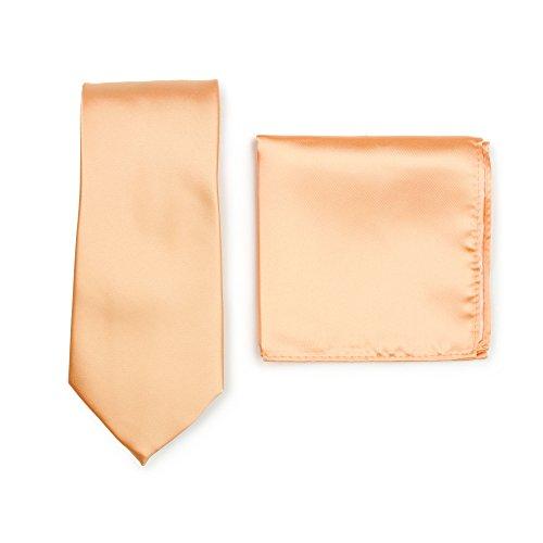 PUCCINI Krawatte + Einstecktuch │ Einfarbig/Uni in ausgewählten Farben │ Handarbeit (Apricot)