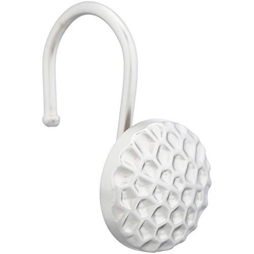 Amazon Basics - Ganchos para cortinas de ducha, círculo martillado, níquel