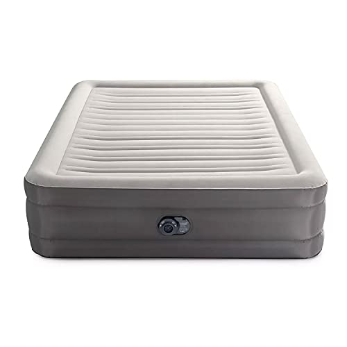 Intex 64095T TruAire Luxury Queen Air Mattress Airbed with 18 Inch Height, Lumbar Support, Built in Pump, and Carry Bag, Gray