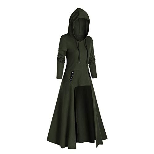 Calvinbi Damen Mode Kapuze Plus Size Vintage Umhang High Low Sweater Bluse Tops...
