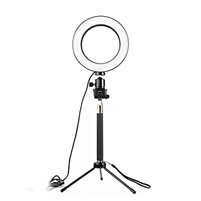 Luccase LED Ring Light with Stand 3 Color Modes 10 Brightness Dimmable Ring Light 360 Rotary USB Powered Streaming Light for Vlogging Video Shooting Make-up Selfie (16CM) by Luccase