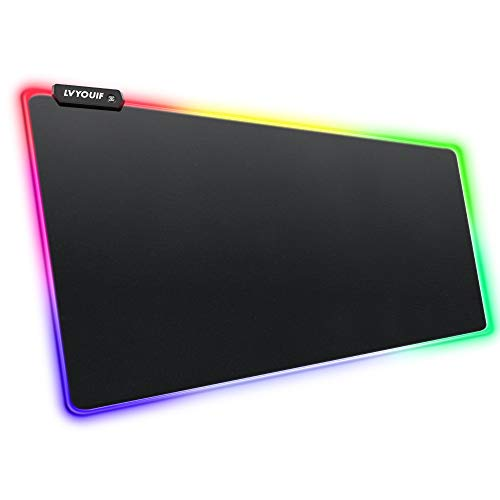 RGB Gaming Mouse Pad, LVYOUIF Large Extended Soft Led Mouse Pad with 14 Lighting Modes 2 Brightness Level, Anti-Slip Rubber Base and Waterproof Surface, XXL Mousepad for Game, 31.5 X 11.8 inches