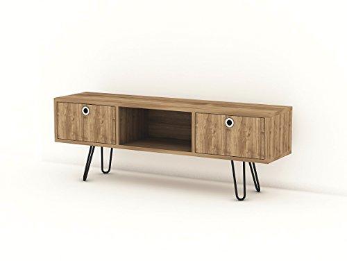Alphamoebel 4958 Moda TV Board Lowboard Fernsehtisch Fernsehschrank Sideboard Schrank Tisch für Wohnzimmer, Walnuss, mit 2 Türen, 120 x 43 x 29 cm