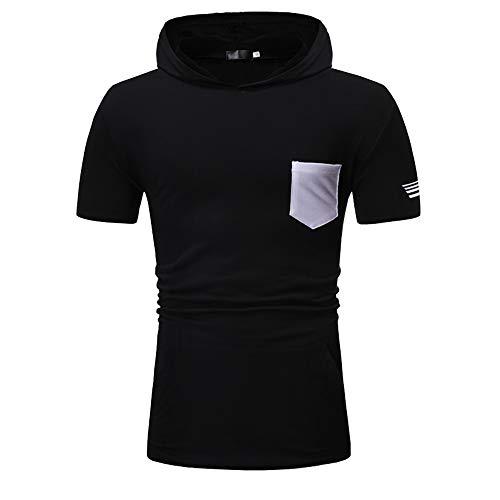 Sudadera Capucha Hombre Verano Básica Ajustado Elástica Hombre Shirt Personalidad Diseño Color Sólido Bolsillo Manga Corta Deportiva Camisa Casual Sport Transpirable T-Shirt E-Black XXL
