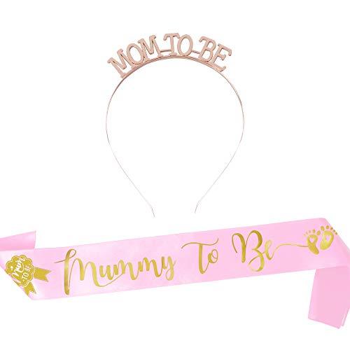 """FLOFIA Mummy to Be Corona Mom to Be Tiara Principessa Cristallo Diamande di Strass con Fascia Fusciacca """"Mummy to Be"""" per Mamma Futura Decorazione Baby Shower Festa Celebrazione Nascita"""