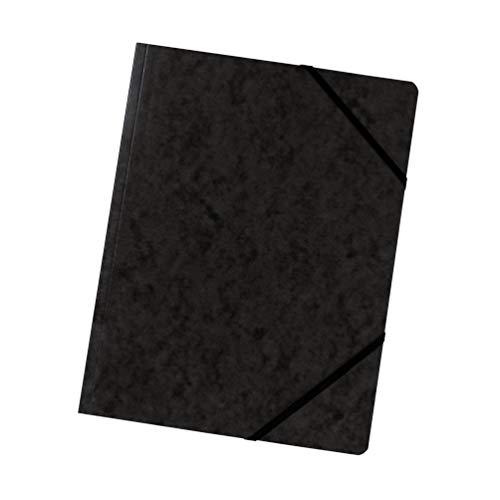 Original Falken 5er Pack Premium Eckspanner-Mappe. Made in Germany. Aus extra starkem Colorspan-Karton DIN A4 mit 2 Gummizügen schwarz Sammelmappe Dokumentenmappe ideal für Büro und Schule