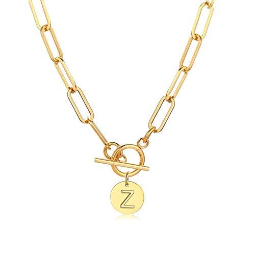 Collares Colgante Joyas Elegantes Collares De Monedas Iniciales para Mujer,...