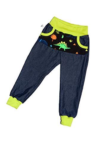 Jeans Jersey Kinderhose Neon Dinosaurier 92-146