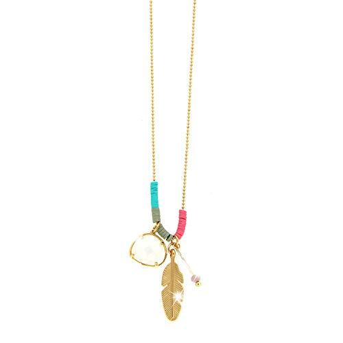 Sweet Deluxe Kette EMI, mattgold/weiß/Multi I Elegante Halskette für Damen, Frauen & Mädchen I Halsband Modeschmuck I Designer Necklace