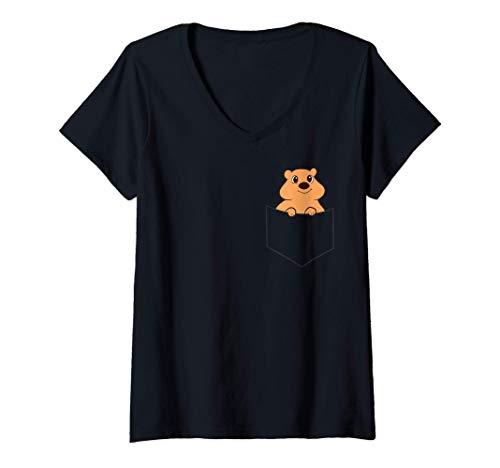Damen Quokka in der Tasche Lustiger Taschen Quokka T-Shirt mit V-Ausschnitt
