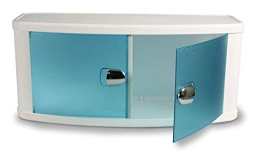 Anzapack 853492J badkamerkast, wit met blauwe deuren, 64 x 28 x 33,5 cm