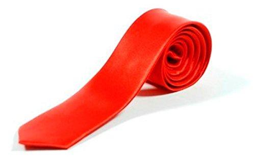 Retro Styler Cravate Fine Couleur Unie - Rouge