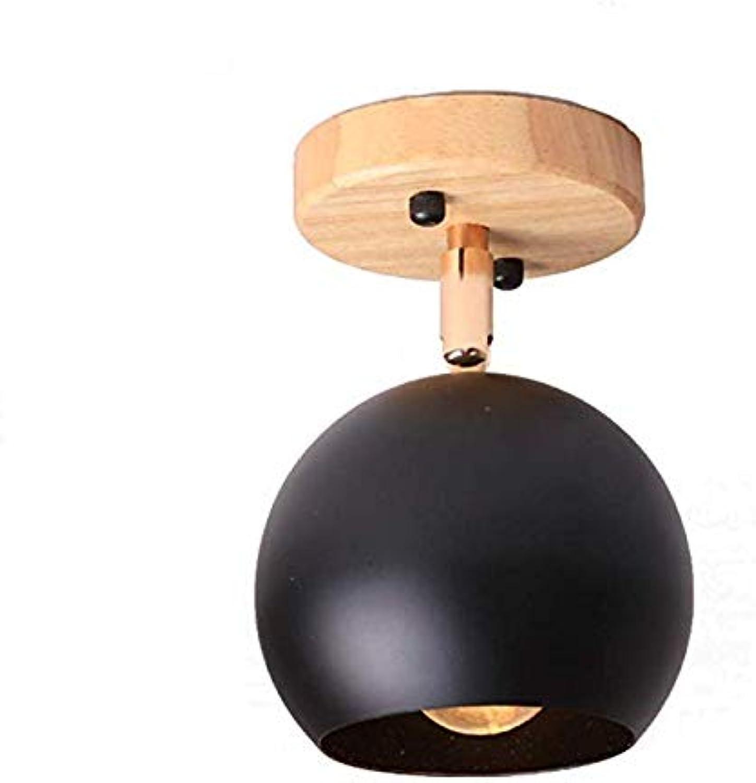 XUEGM-Light E27 Schmiedeeisen Deckenleuchte, Mini Holzsockel Moderne Deckenleuchte Oberflche sphrische Form Lampe für Flur (Farbe  Wei-D3in   T  6,5 In),schwarz