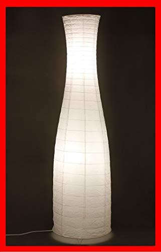 Trango TG1231 Modern Design Reispapier Stehlampe *SWEDEN* Papierlampe in Flaschenform Weiß, 125cm Hoch mit 2x E14 Lampenfassung und Trittschalter als Wohnzimmer Deco Lampe, Standleuchte, Lampenschirm