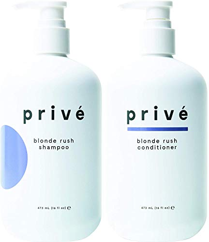 Privé Blonde Rush Shampoo and Conditioner Kit – Purple Shampoo & Conditioner for Blonde Hair – No Yellow, Brass Off, Damage Repair, for Natural Highlighted Bleached Blondes, Brassy Hair (16 oz each)