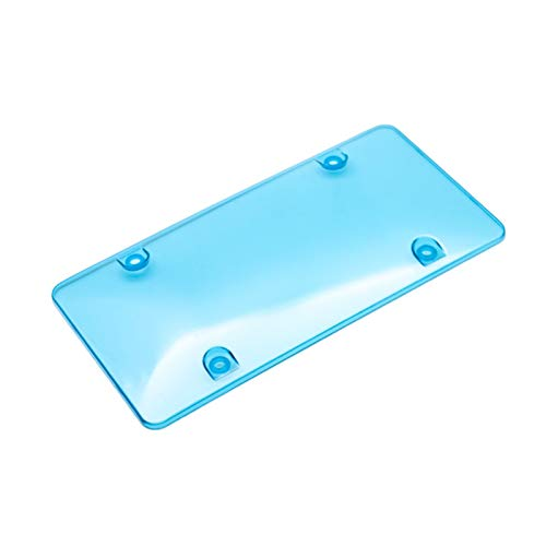 License plate bracket audi License Plate Frame Smoked Clear License Plate Cover Frame Shield Tinted Bubbled Flat Car license plate bracket audi a6 (Color : Blue)