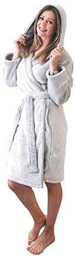Brandsseller Damen Flanell-Bademantel Morgenmantel mit Kapuze Knielang ca.100 cm Hellgrau L/XL