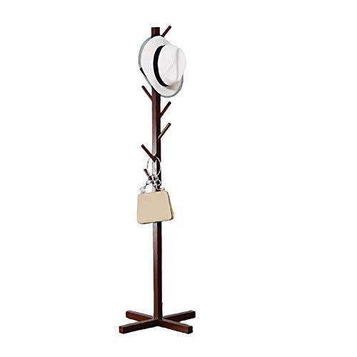 XH&XH Perchero de Madera conciso Perchero Perchero Pasillo Soporte de árbol Entrada Oficina en casa Perchero de Almacenamiento Árbol Base Cruzada Oficina no tóxico-marrón Oscuro 158x37cm (62x15 PU