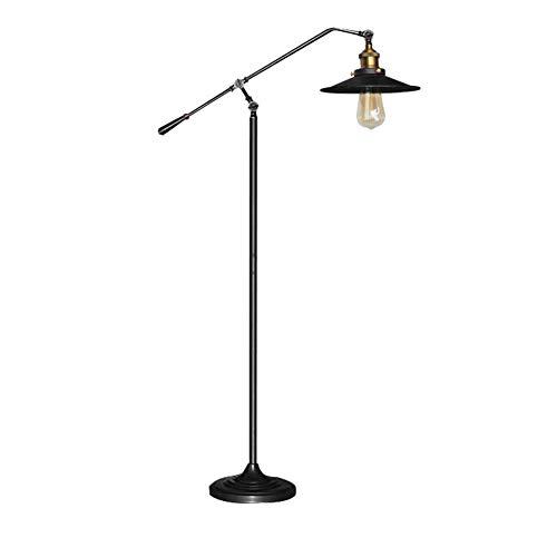 LaMP-XUE industriële staande lamp verstelbare, rustieke vloerlamp in smeedijzeren afwerking, staande lamp met metalen kap voor woonkamer, leeskamer, slaapkamer of kantoor.