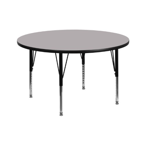 Flash Furniture 42'' Round Grey Thermal Laminate Activity Table - Height Adjustable Short Legs