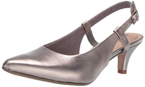 Clarks Women's Linvale Loop Pump, Pewter Leather, 090 W US