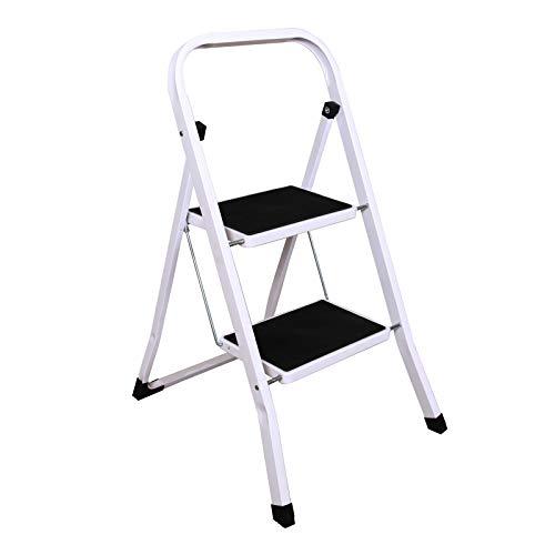 2 Stufen Klappstufen Trittleiter Klappbar Leichte Stehleiter Anti-Rutsch-Schritte für die Reinigung der Küche im Home Office Dekorieren Lackieren 150 kg max Belastung