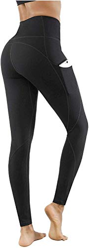 Lingswallow High Waist Yoga Pants - Yoga Pants with Pockets Tummy Control, 4 Ways Stretch Workout Running Yoga Leggings (Black, Medium)